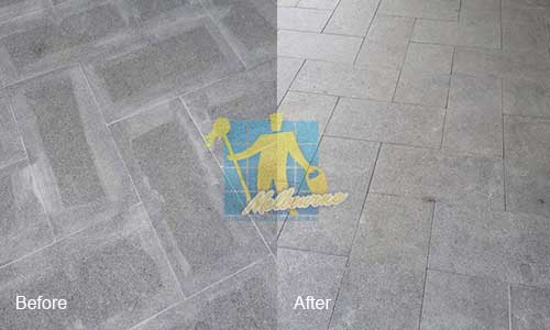 before and after bluestone floor efflorescence treatment