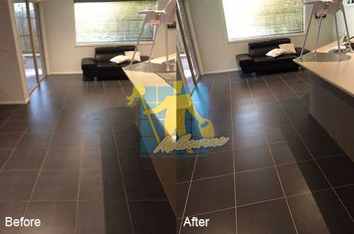 black porcelain floor before and after_ leaning