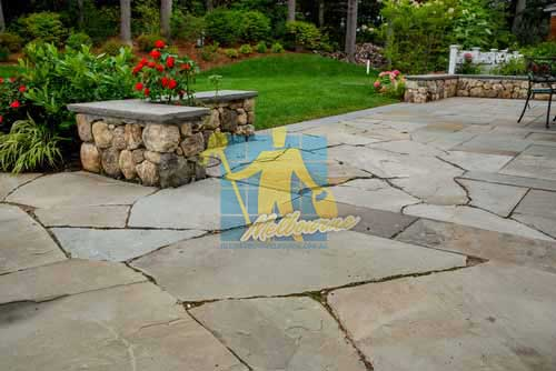 bluestone dining patio outdoor irregular after High Pressure Cleaning