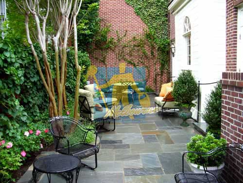 Melbourne bluestone tiles outdoor backyard with furniture
