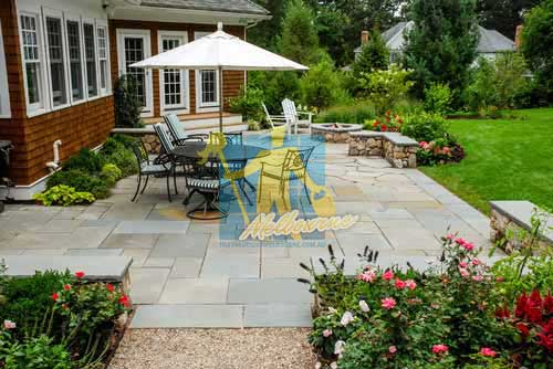 bluestone tiles outdoor rectangular irregular dining_patio