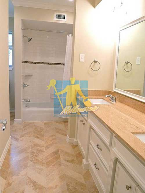 polished travertine bathroom floor Melbourne