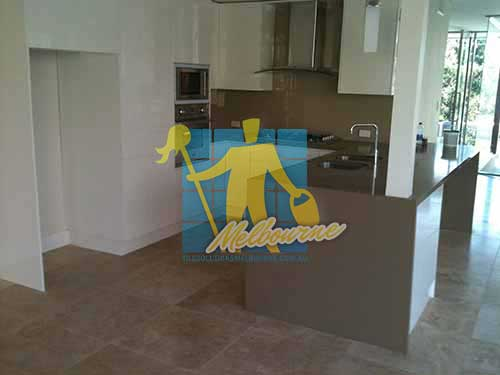 kitchen with clean porcelain floor tiles after cleaning by tile cleaners