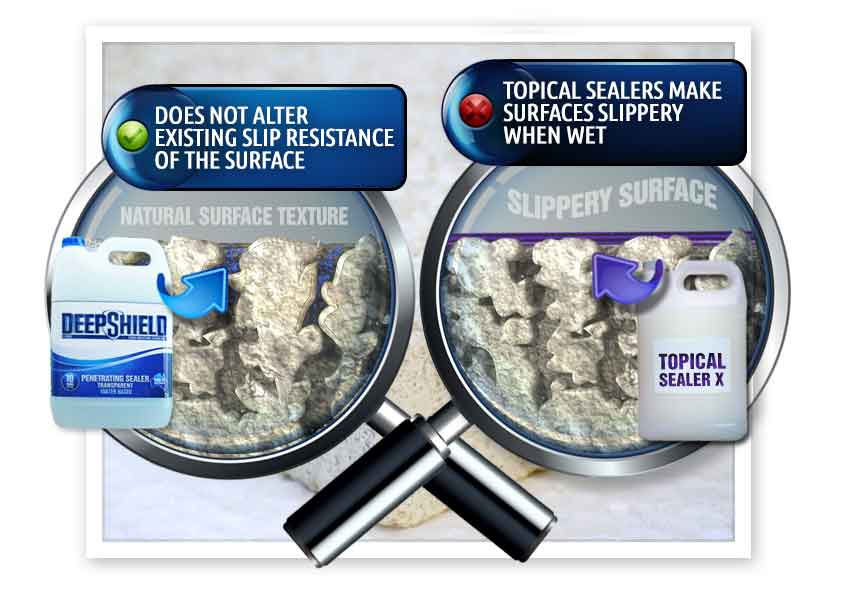 difference between deepshield and topical sealers for kitchens grout sealing