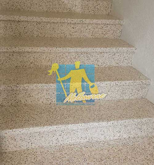 Terrazzo stairs finished repairing and polishing